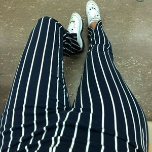 REFORMATION STRIPED HIGH-WAIST PANTS